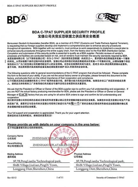 BDA C-TPAT Supplier Security Profile