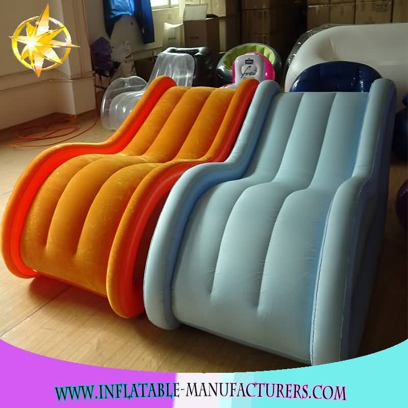 Comfortable Pvc indoor inflatable sex sofa chair Furniture, Flocked air sofa inflatable lounger