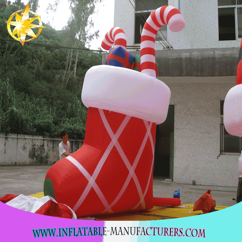 2017 New Hot Selling Large Size Inflatable Christmas Stockings Decoration