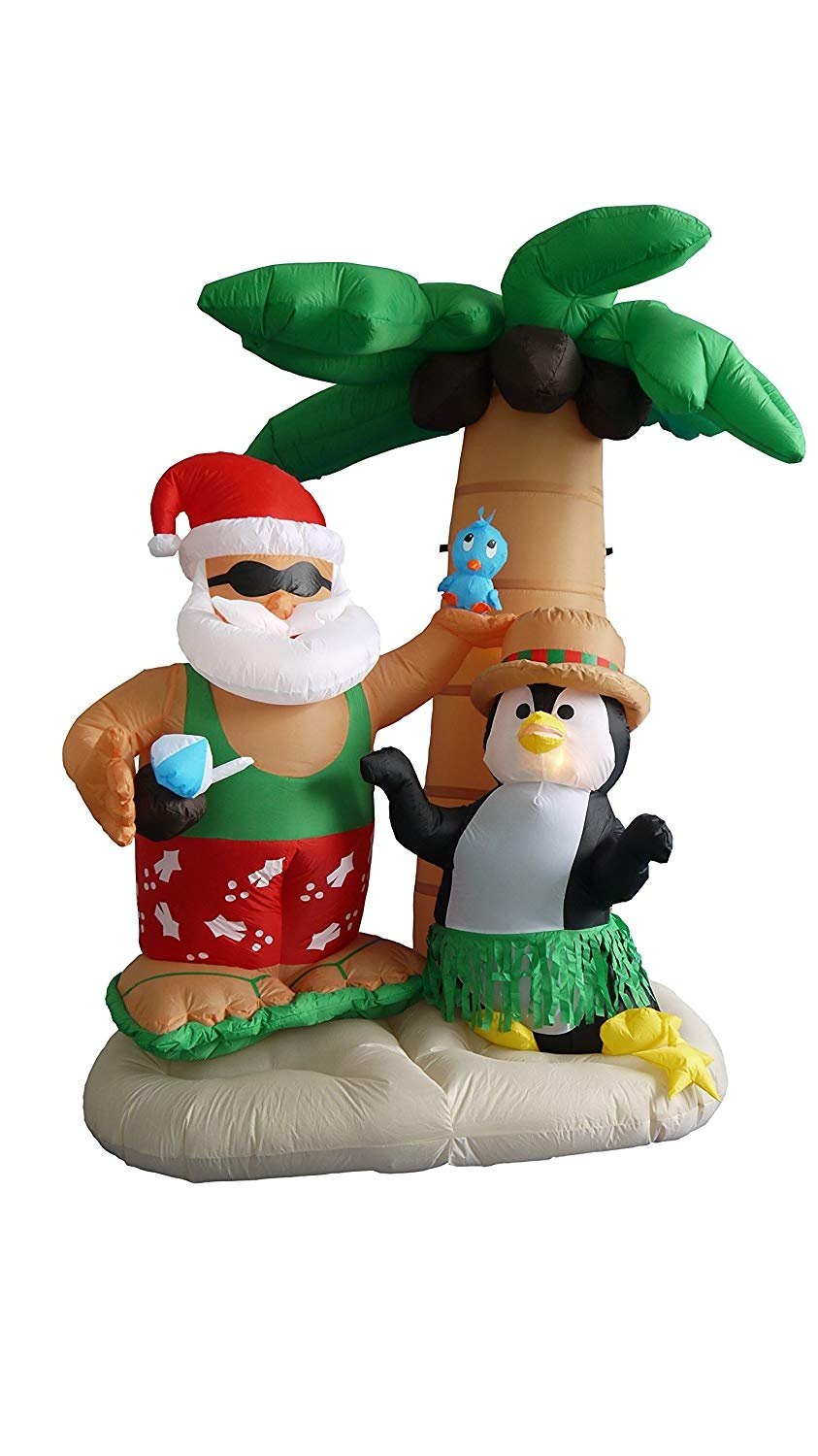 7 Foot Inflatable Santa Claus & Penguin on an Island w/ Palm Tree