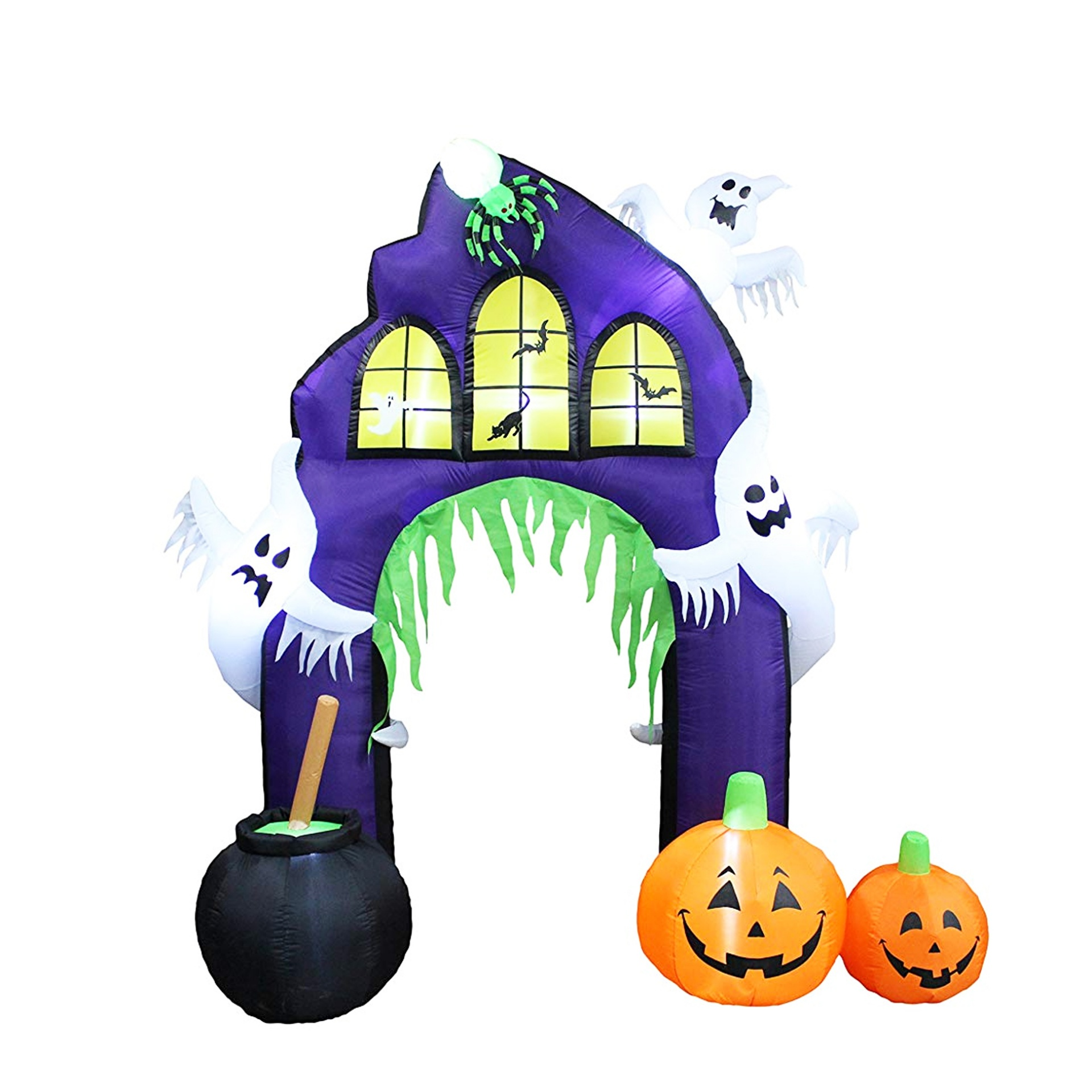 Halloween inflatable castle arches are decorated with jack-o '-lanterns and ghost LED lights dr