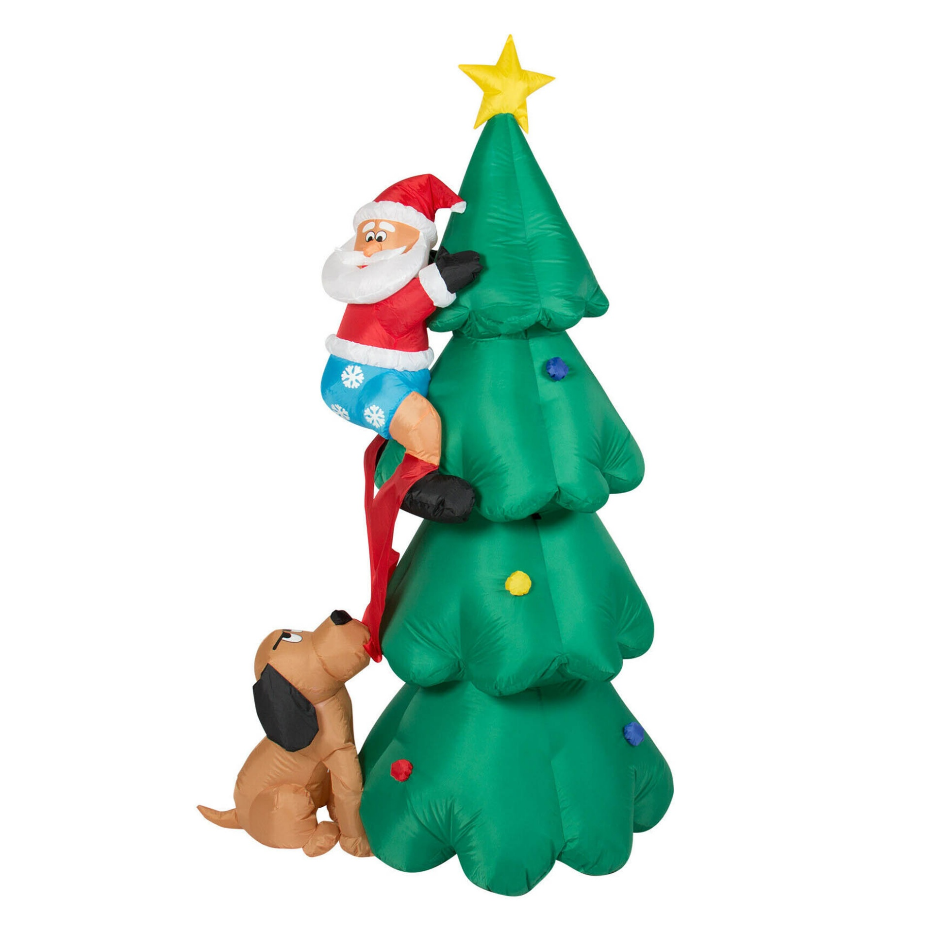 Inflatable Santa Claus dog festival tree outdoor courtyard decoration