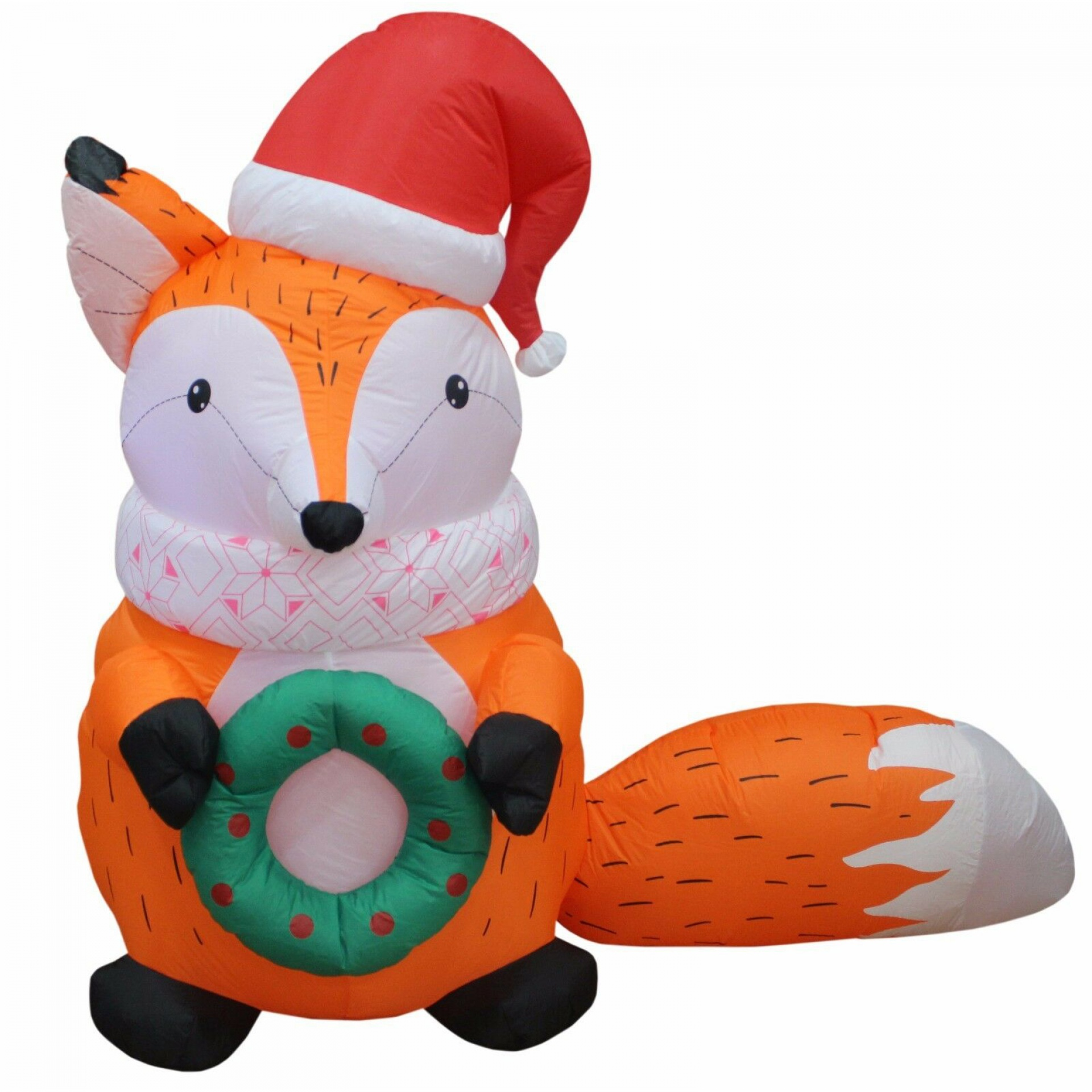 Christmas air blowing LED inflatable courtyard garden decorated with fox Christmas gift hats and wre