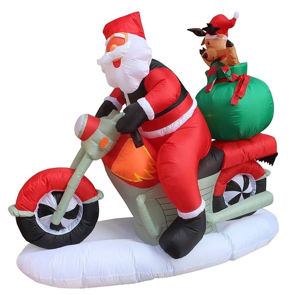 Custom inflatable Santa motorcycle with moose outdoor large Christmas decorations