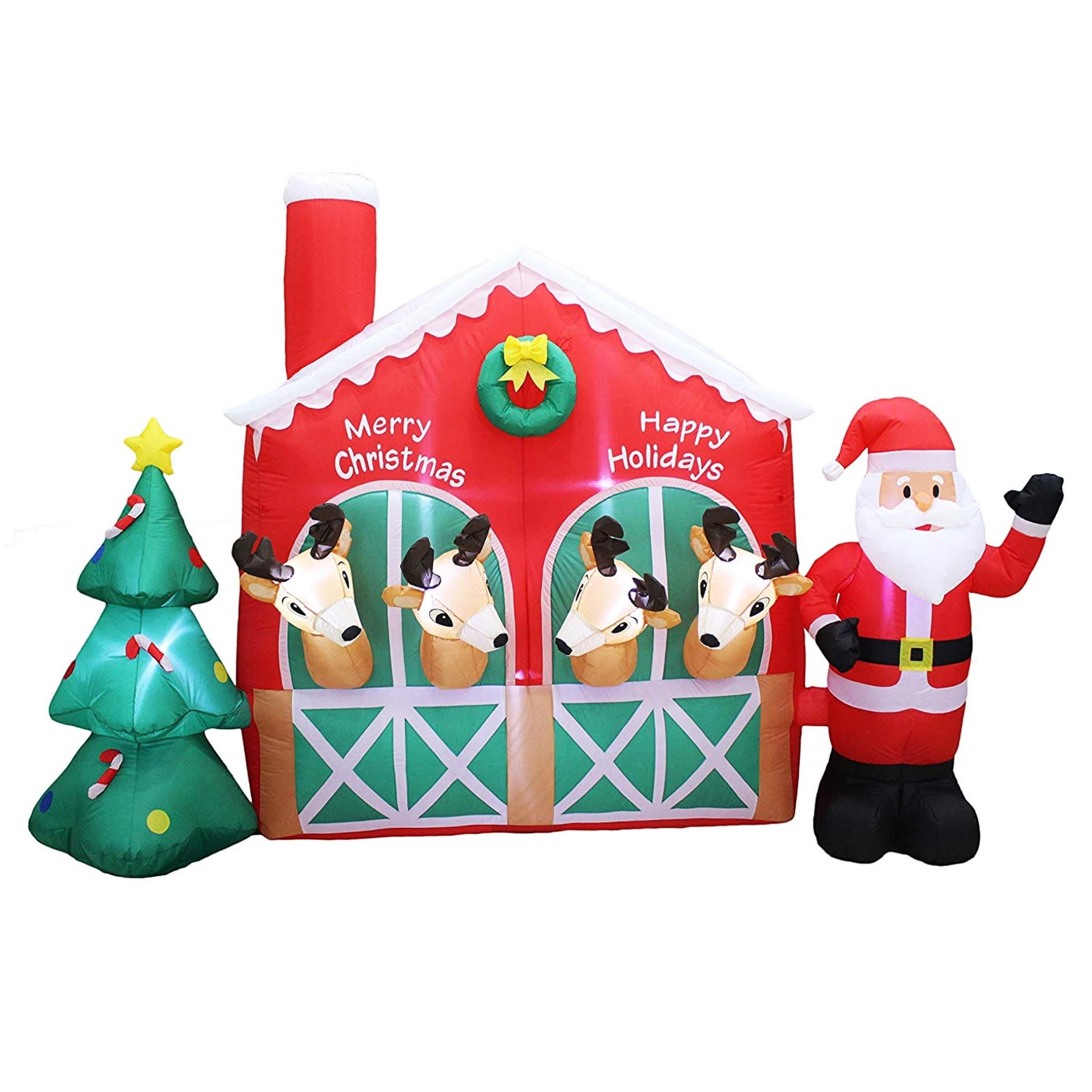 Christmas Inflatable LED Santa Claus Reindeer in Stable with Christmas Tree Cute Lights