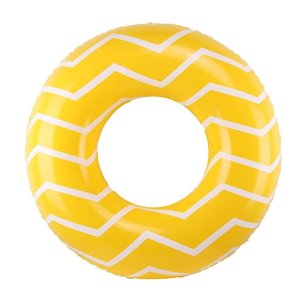 High quality yellow printed stripe swimming ring, suitable for children's water toys